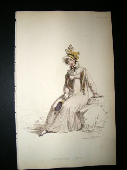 Ackermann 1815 Hand Col Regency Fashion Print. Promenade Dress 14-28 | Albion Prints